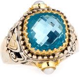 Konstantino Amphitrite Cushion Topaz & Pearl Statement Ring, Size 7