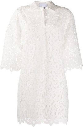 Erika Cavallini Oversized Floral Lace Shirtdress