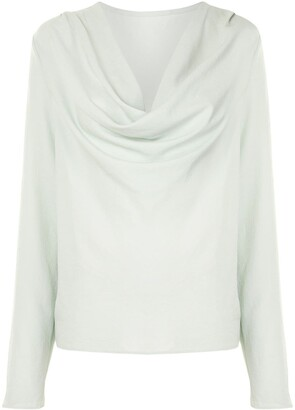 Sally LaPointe Crepe Cowl-Neck Blouse