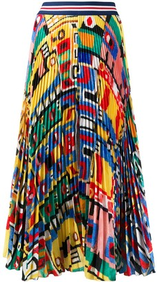 Stella Jean Pleated Abstract Print Skirt