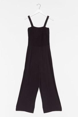 Nasty Gal Womens Shirred of Wisdom Wide-Leg Jumpsuit - Black - S, Black