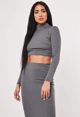 Missguided Grey Co Ord Rib High Neck Crop Top