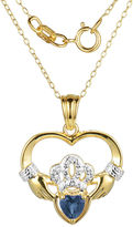 JCPenney FINE JEWELRY Heart-Shaped Genuine Blue Sapphire and Diamond-Accent Claddagh Pendant Necklace