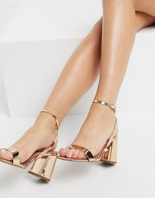 ASOS DESIGN Hudson barely there block heeled sandals in rose gold