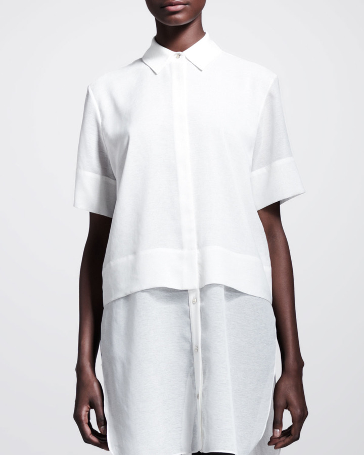 Alexander Wang Short-Sleeve Layered Combo Shirt