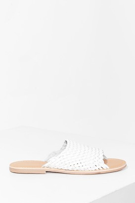 Nasty Gal Womens You'll Never Walk Alone Leather Flat Sandals - White