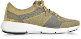 Michael Kors Skyler Pale Gold and Silver Metallic Knit Lace-up Trainers