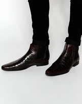 Asos Chelsea Boots In Red Crocodile Effect - Red
