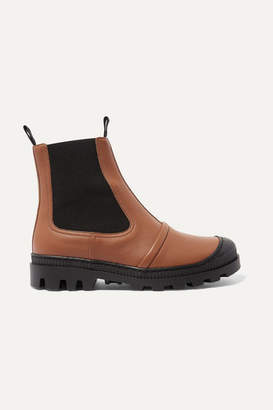Loewe Rubber-trimmed Leather Chelsea Boots - Tan