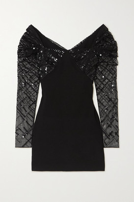Cushnie Sequin-embellished Tulle And Stretch-crepe Mini Dress - Black
