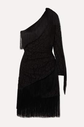 Dundas Animalier One-sleeve Fringed Ruched Lace Mini Dress - Black