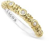 Lagos Sterling Silver and 18K Gold Three Diamond Stacking Ring