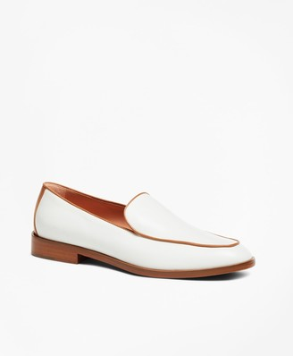 Brooks Brothers Leather Contrast-Trim Loafers