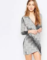 Liquorish Asymetric Wrap Dress In Monochrome Zig Zag Print
