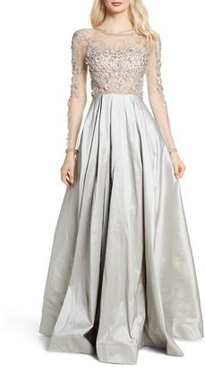 Mac Duggal Floral Applique Long Sleeve Ballgown