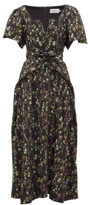 Preen by Thornton Bregazzi Katarina Waist-tie Floral-print Crepe Dress - Black Print