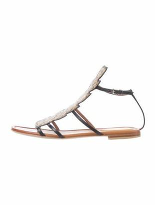 Fendi Snakeskin Leather Trim Embellishment Gladiator Sandals Black