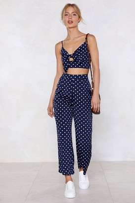 Nasty Gal Womens Polka Dot Bralette And Trousers Set with Tie Closure - Navy - 4
