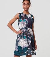 LOFT Floral Ruffle Tie Waist Dress