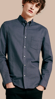 Burberry Check Detail Cotton Oxford Shirt