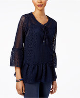 Style&Co. Style & Co Lace Peasant Top, Created for Macy's