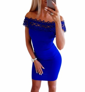 HUAZONG Women Sexy Tight Off Shoulder Lace Mini Dress Womens Hollow Out Lace Strapless High Waist Short Dress Sexy Chic and Elegant for Party Cocktail Club Spring Summer (XL