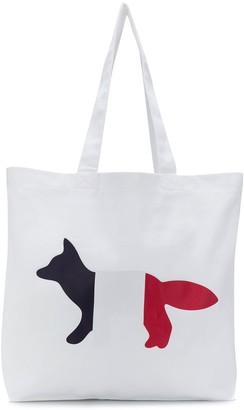 MAISON KITSUNÉ Tri-Colour Fox-Print Tote