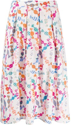 HVN Candy Print Pleated Skirt