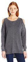 Miss Chievous Women's Fashion Cold Shoulder Pullover with Raw Edge Detail