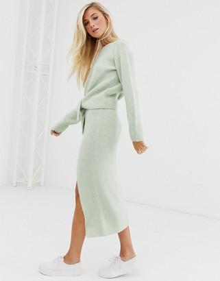 Asos DESIGN co-ord fluffy knitted midi skirt