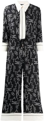 Elisabetta Franchi Cropped Printed Jumpsuit