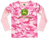 John Deere Girls 4-6x Pink Camouflage Mock-Layered Long Sleeve Tee