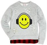 Flowers by Zoe Girls' Distressed Emoji French Terry Sweatshirt - Sizes S-XL