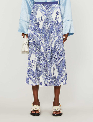 Claudie Pierlot Surfe print crepe midi skirt