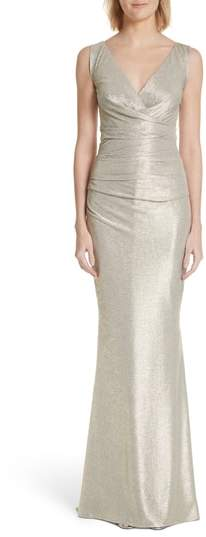 Talbot Runhof Pleated Microdot Satin Gown