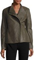 T Tahari Kelly Leather Asymmetric Jacket, Taupe