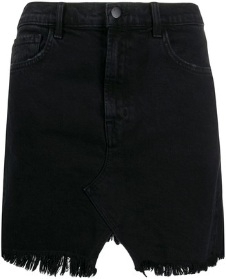 J Brand Frayed-Hem Denim Skirt
