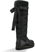 """UGG Augustine"""" Tie Back Black Leather Tall Boot"""