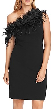 Vince Camuto Feather Trimmed One-Shoulder Dress