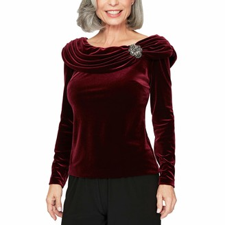 Alex Evenings Women's Ruched Collar Blouse