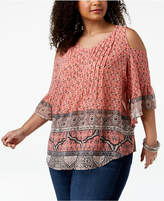 Style&Co. Style & Co Plus Size Mixed-Print Cold-Shoulder Top, Created for Macy's