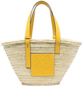 Loewe Logo-Patch Woven-Raffia Shoulder Bag
