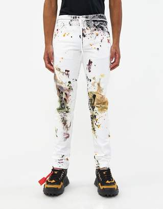 Off-White Off White Slim Jean in White/Orange
