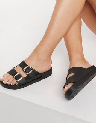 London Rebel double buckle footbed sandals in black