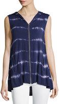 Neiman Marcus Tie-Dye Hooded Vest, Navy/White
