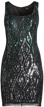 Aidan Mattox Sequin Sleeveless Sheath Dress