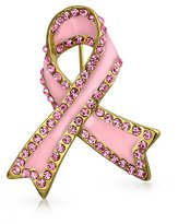 Bling Jewelry Crystal Enamel Breast Cancer Ribbon Pin Gold Plated