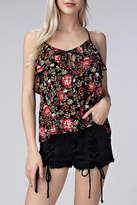 Honey Punch Floral Ruffle Tank Top