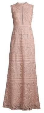 BCBGMAXAZRIA Women's Lace Crochet Gown - Dusty Pink - Size 2