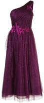 Marchesa one shoulder glitter tulle dress